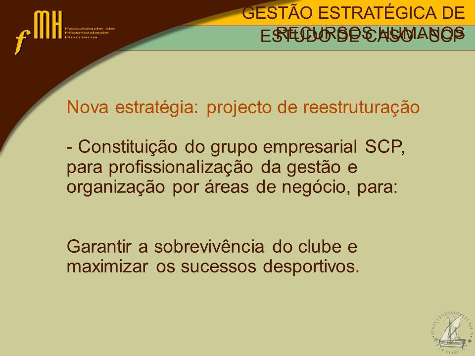 Nova estratégia: projecto de reestruturação - Constituição do grupo empresarial SCP, para profissionalização da gestão e organização por áreas de negócio, para: Garantir a sobrevivência do clube e maximizar os sucessos desportivos.