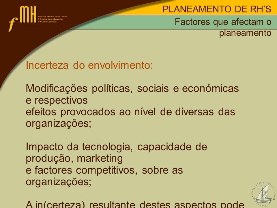 PLANEAMENTO DE RHS Incerteza do envolvimento: Modificações políticas, sociais e económicas e respectivos efeitos provocados ao nível de diversas das o