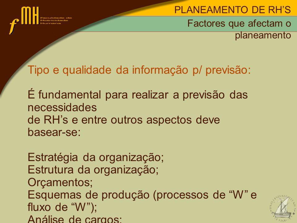 PLANEAMENTO DE RHS Tipo e qualidade da informação p/ previsão: É fundamental para realizar a previsão das necessidades de RHs e entre outros aspectos