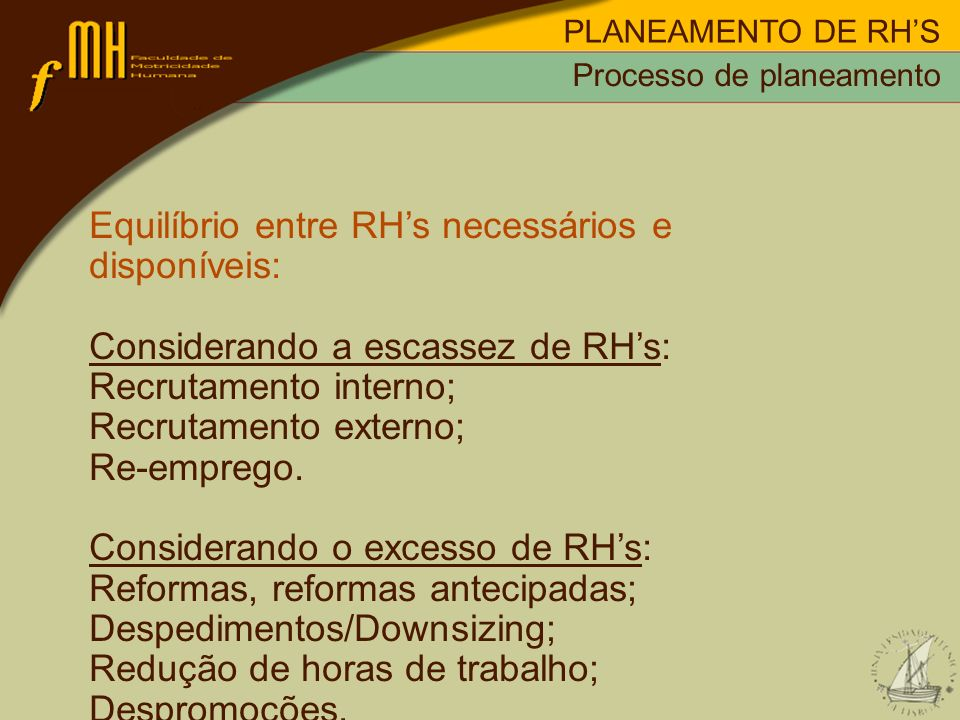 PLANEAMENTO DE RHS Equilíbrio entre RHs necessários e disponíveis: Considerando a escassez de RHs: Recrutamento interno; Recrutamento externo; Re-empr