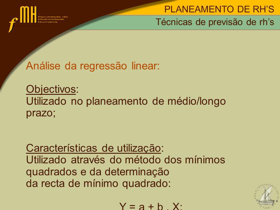 Análise da regressão linear: Objectivos: Utilizado no planeamento de médio/longo prazo; Características de utilização: Utilizado através do método dos