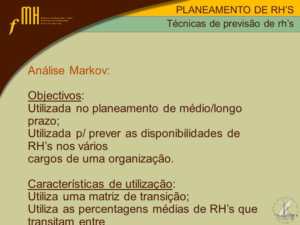 PLANEAMENTO DE RHS Análise Markov: Objectivos: Utilizada no planeamento de médio/longo prazo; Utilizada p/ prever as disponibilidades de RHs nos vário