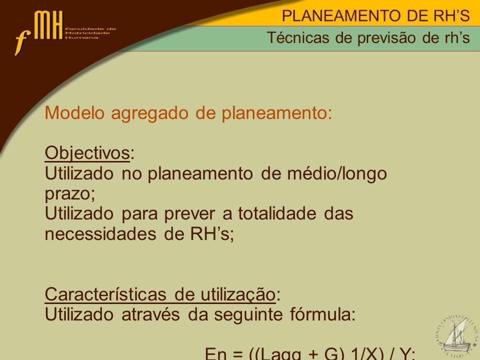 PLANEAMENTO DE RHS Modelo agregado de planeamento: Objectivos: Utilizado no planeamento de médio/longo prazo; Utilizado para prever a totalidade das n