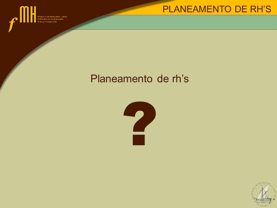Planeamento de rhs ? PLANEAMENTO DE RHS