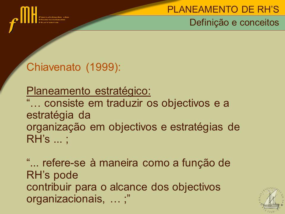 PLANEAMENTO DE RHS Chiavenato (1999): Planeamento estratégico: … consiste em traduzir os objectivos e a estratégia da organização em objectivos e estr