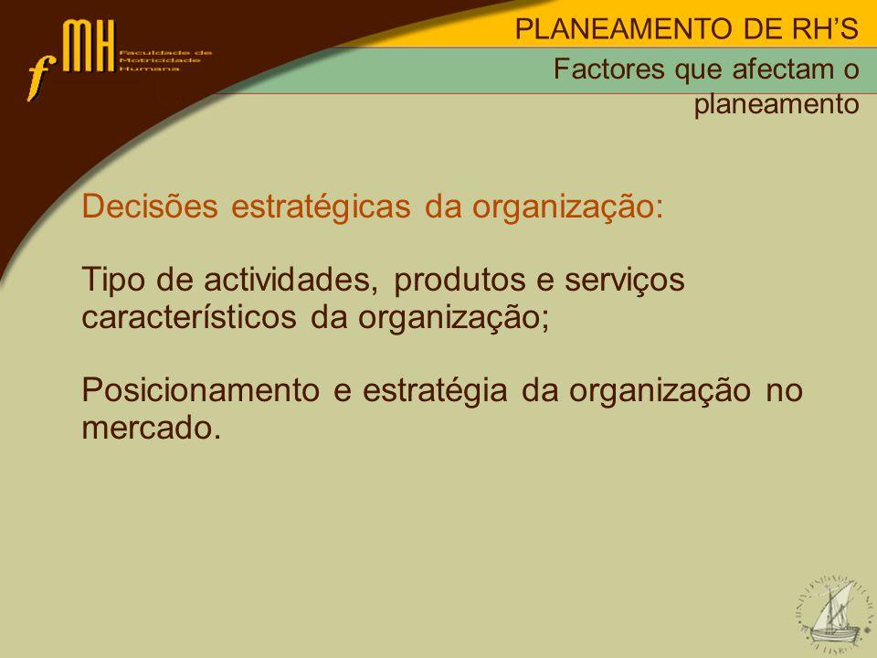 Decisões estratégicas da organização: Tipo de actividades, produtos e serviços característicos da organização; Posicionamento e estratégia da organiza