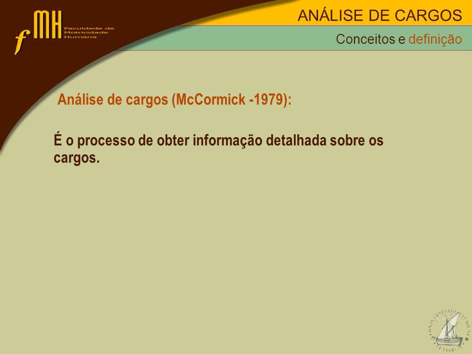 Análise de cargos (McCormick -1979): É o processo de obter informação detalhada sobre os cargos. Conceitos e definição ANÁLISE DE CARGOS