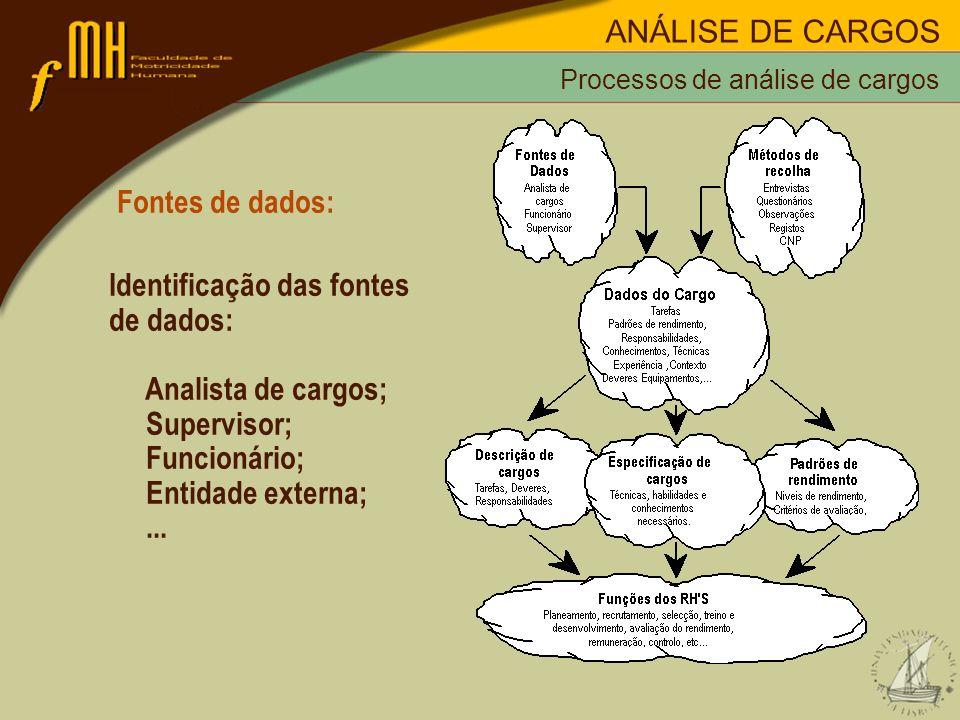 Fontes de dados: Identificação das fontes de dados: Analista de cargos; Supervisor; Funcionário; Entidade externa;... Processos de análise de cargos A