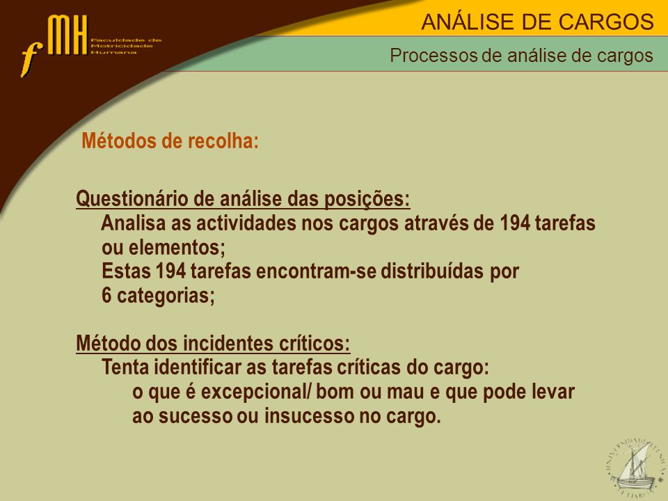 Métodos de recolha: Questionário de análise das posições: Analisa as actividades nos cargos através de 194 tarefas ou elementos; Estas 194 tarefas enc