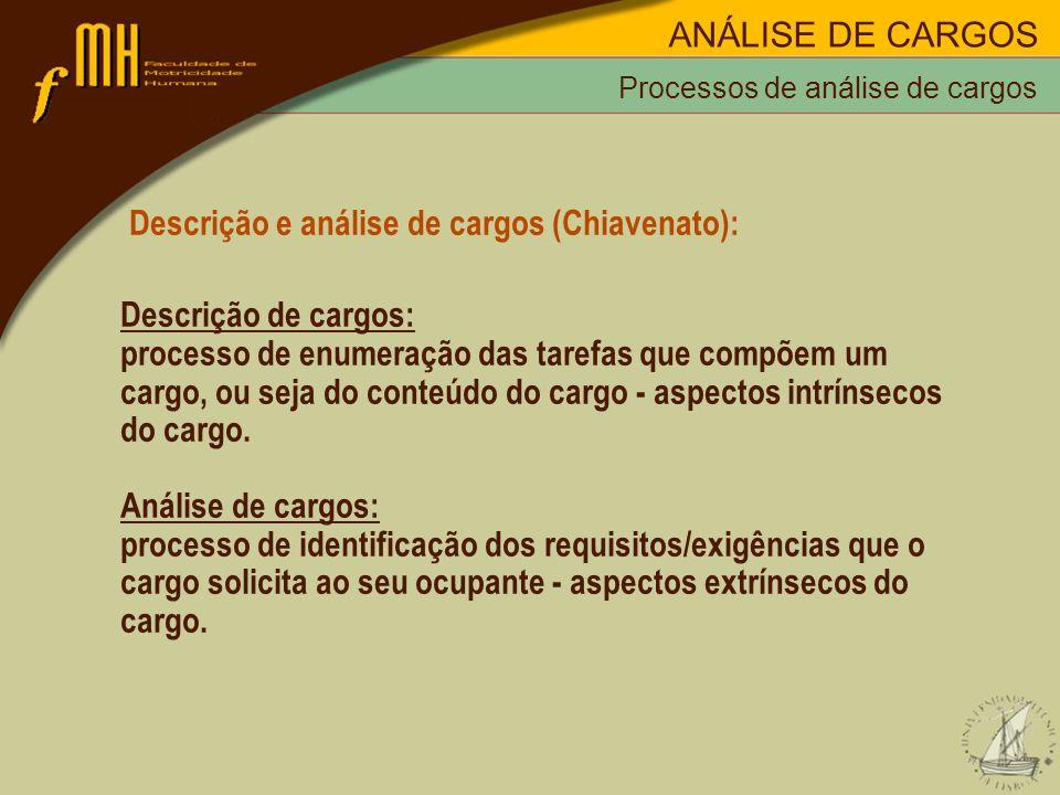 Processos de análise de cargos Descrição e análise de cargos (Chiavenato): Descrição de cargos: processo de enumeração das tarefas que compõem um carg