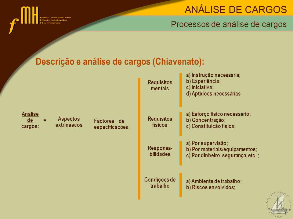 Processos de análise de cargos Descrição e análise de cargos (Chiavenato): Análise de = cargos: Aspectos extrínsecos Factores de especificações; a) In