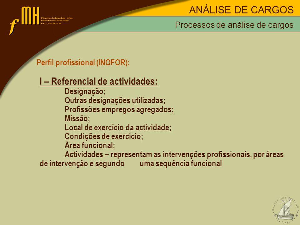 Processos de análise de cargos Perfil profissional (INOFOR): I – Referencial de actividades: Designação; Outras designações utilizadas; Profissões emp