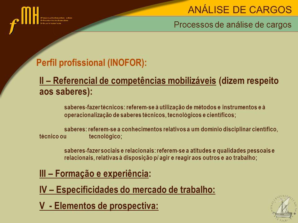 Processos de análise de cargos Perfil profissional (INOFOR): II – Referencial de competências mobilizáveis (dizem respeito aos saberes): saberes-fazer