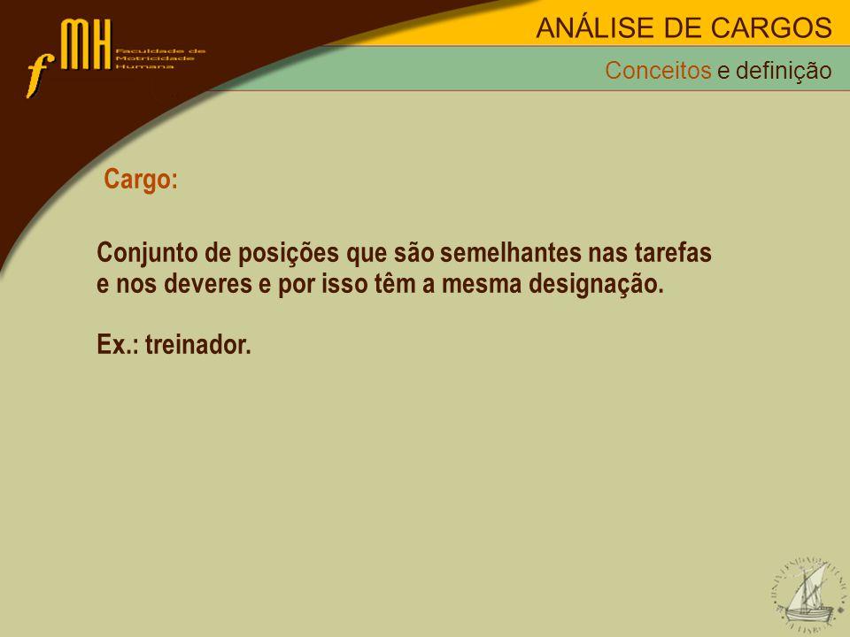 Cargo: Conjunto de posições que são semelhantes nas tarefas e nos deveres e por isso têm a mesma designação. Ex.: treinador. Conceitos e definição ANÁ