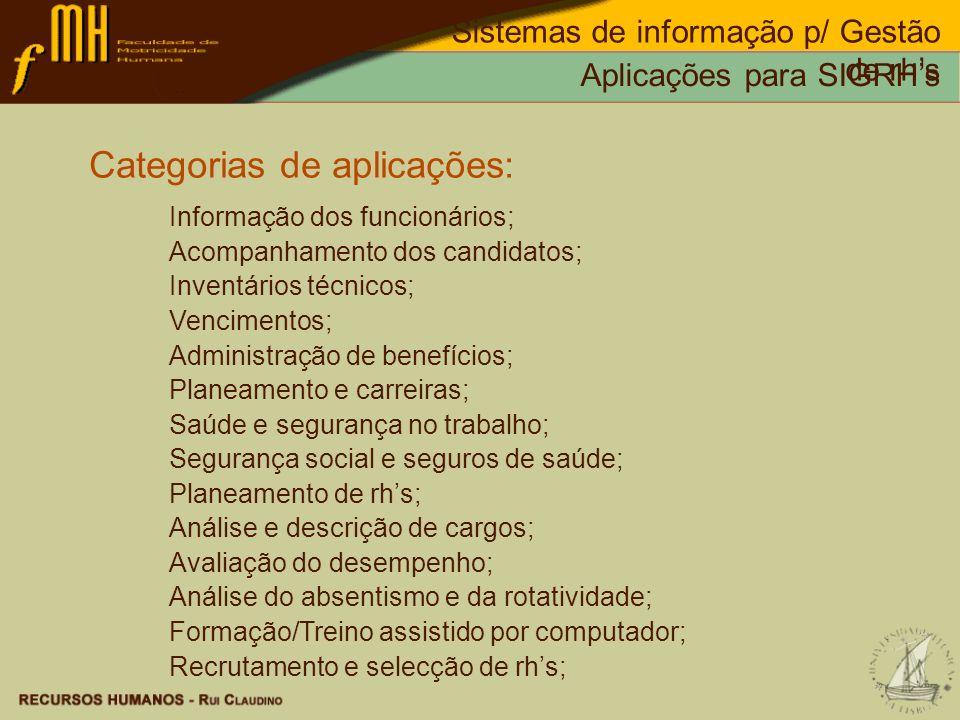 Categorias de aplicações: Informação dos funcionários; Acompanhamento dos candidatos; Inventários técnicos; Vencimentos; Administração de benefícios;