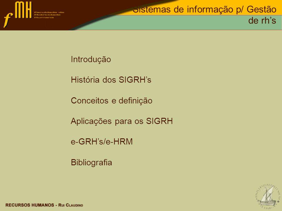 Introdução História dos SIGRHs Conceitos e definição Aplicações para os SIGRH e-GRHs/e-HRM Bibliografia
