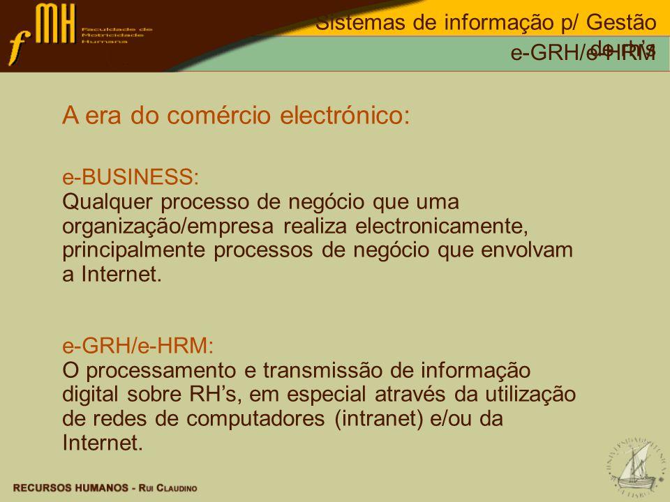 Sistemas de informação p/ Gestão de rhs e-GRH/e-HRM A era do comércio electrónico: e-BUSINESS: Qualquer processo de negócio que uma organização/empres