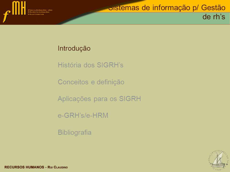 Sistemas de informação p/ Gestão de rhs Sherman, Bohlander & Snell, Managing Human Resources, Ed.