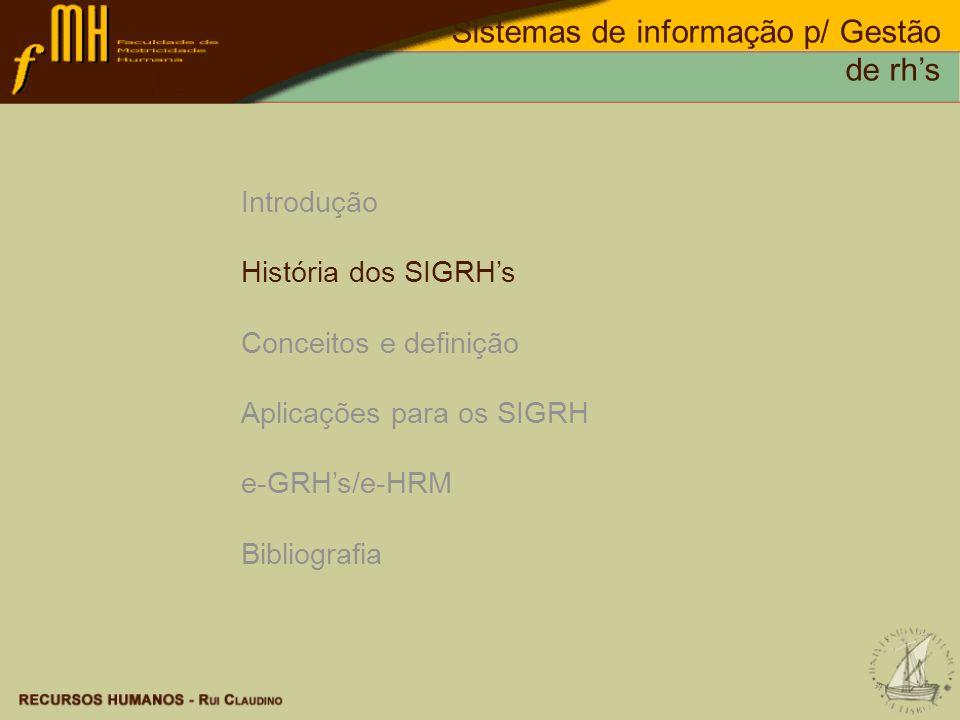 SIGRHs Dados do Rendimento Dados do Recrutamento Dados do Cargo Dados do Salário Dados das Necessidades de Treino Dados dos Testes de selecção Dados do Comportamento Dados do Absentismo Aplicações para SIGRHs Sistemas de informação p/ Gestão de rhs