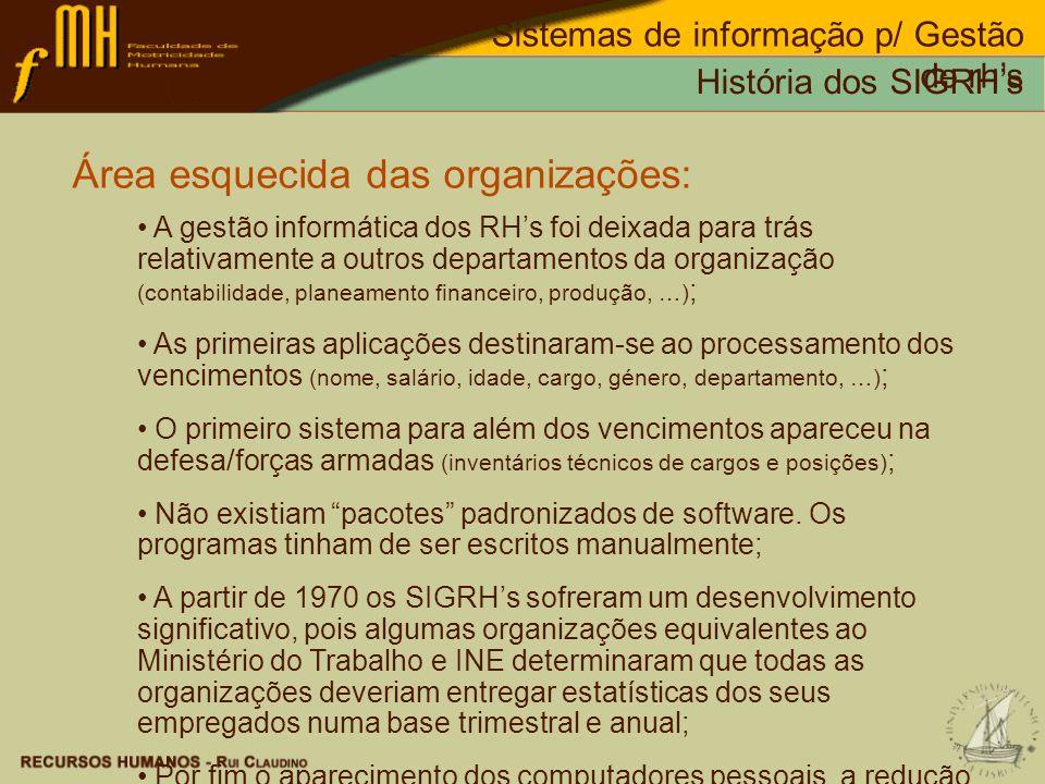 História dos SIGRHs Sistemas de informação p/ Gestão de rhs Tendência para a independência do utilizador final: O Aparecimento de computadores pessoais com um preço acessível por volta de 1980, e o desenvolvimento de software amigável (user-frendly) fez com que muitos funcionários se interessassem pela utilização de SI; O estudo de Santora (1992), indicou que na década de 80 os utilizadores, mais do que os responsáveis pelos sI das organizações, desenvolviam os seus próprios sI; Esta situação provocou a descentralização da gestão dos sI ficando o responsável pelo SI mais como um coordenador do que como um controlador; Na década de 90 o aumento do poder dos PCs e a facilidade de utilização do software proporcionou aos funcionários a realização de pesquisas sofisticadas e a elaboração de relatórios detalhados; De acordo com Gauch (1992), desde 1984 verificou-se uma duplicação, todos os anos, do número de PCs nas organizações públicas de alguns estados dos EUA; Os grandes sistemas de informação muitas vezes não respondiam as todas as necessidades dos utilizadores.