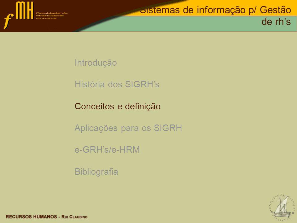 Dados: Informação: Conhecimento: Conceitos e definição Sistemas de informação p/ Gestão de rhs
