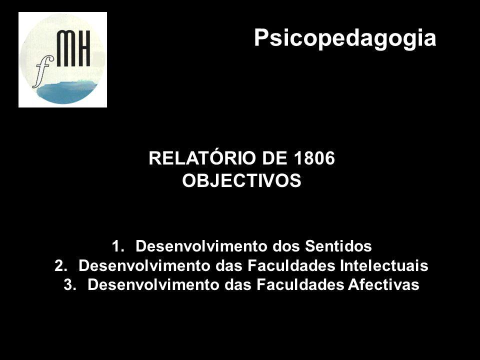 RELATÓRIO DE 1806 OBJECTIVOS 1.Desenvolvimento dos Sentidos 2.Desenvolvimento das Faculdades Intelectuais 3.Desenvolvimento das Faculdades Afectivas P