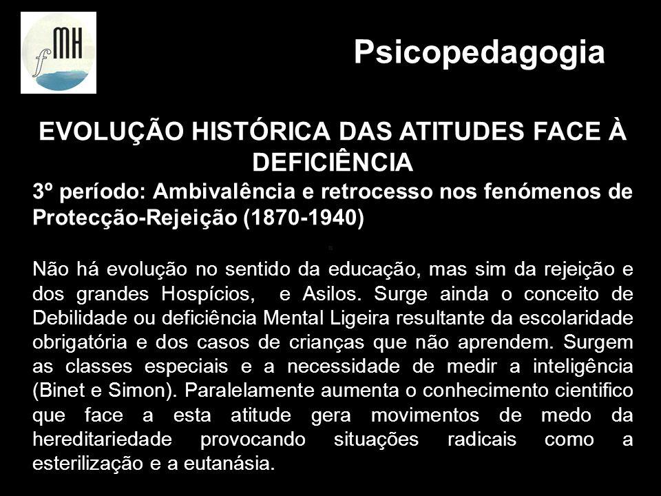 EVOLUÇÃO HISTÓRICA DAS ATITUDES FACE À DEFICIÊNCIA 4º período: Abordagem Científica - Deficiente mental Cidadão com Direitos - 1940 Descoberta das múltiplas causas da deficiência mental.