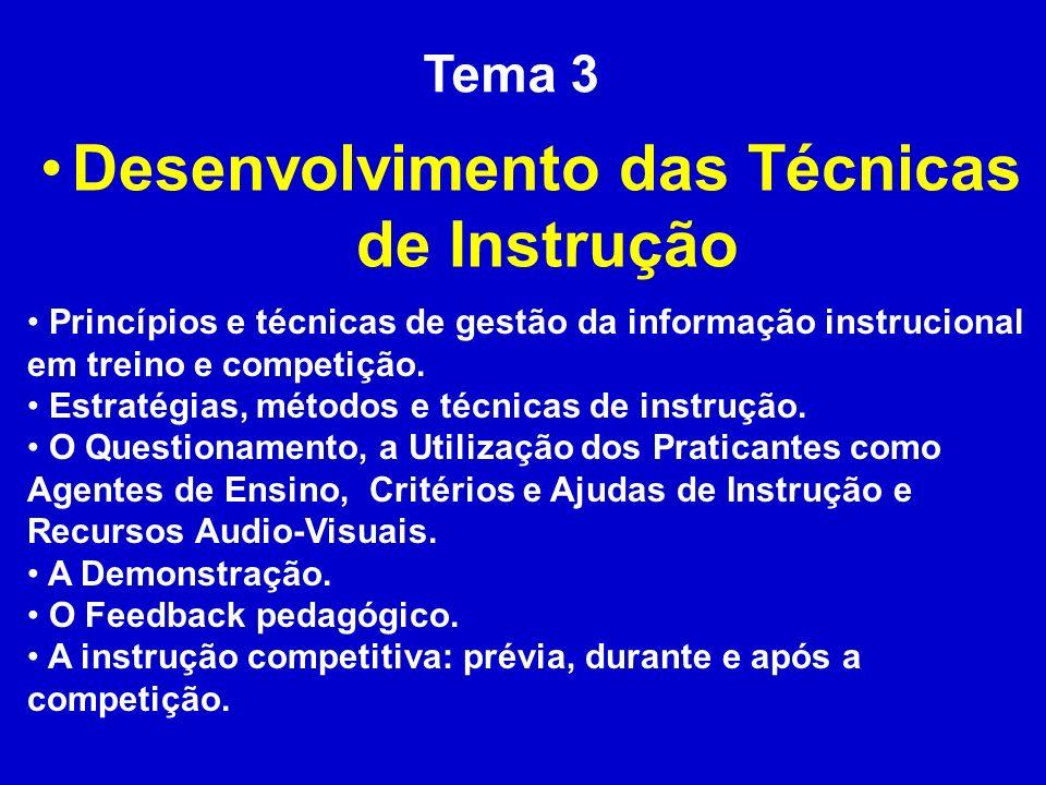 Tema 3 Desenvolvimento das Técnicas de Instrução Princípios e técnicas de gestão da informação instrucional em treino e competição. Estratégias, métod