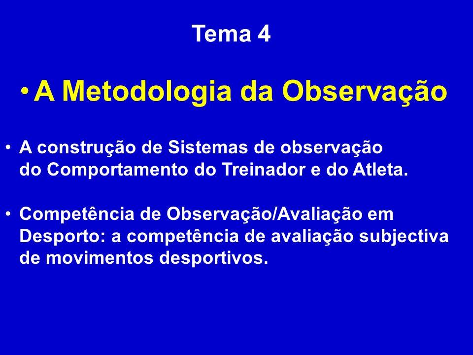 Tema 4 A Metodologia da Observação A construção de Sistemas de observação do Comportamento do Treinador e do Atleta. Competência de Observação/Avaliaç