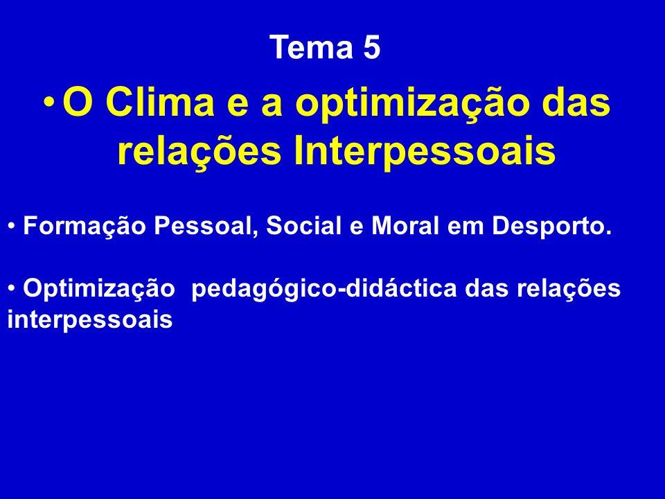 Tema 5 O Clima e a optimização das relações Interpessoais Formação Pessoal, Social e Moral em Desporto. Optimização pedagógico-didáctica das relações