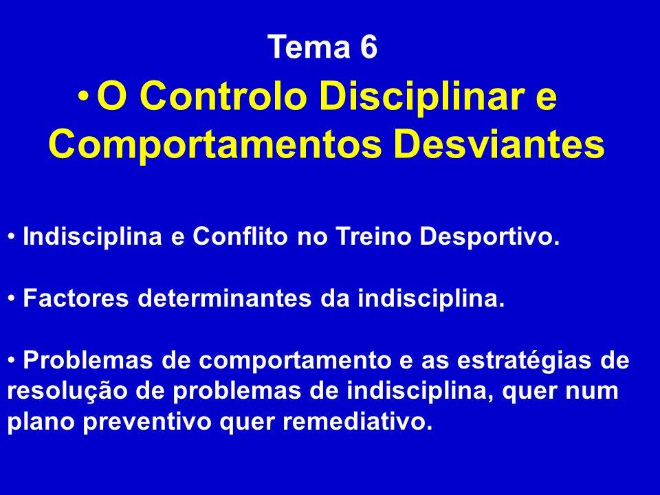 Tema 6 O Controlo Disciplinar e Comportamentos Desviantes Indisciplina e Conflito no Treino Desportivo. Factores determinantes da indisciplina. Proble