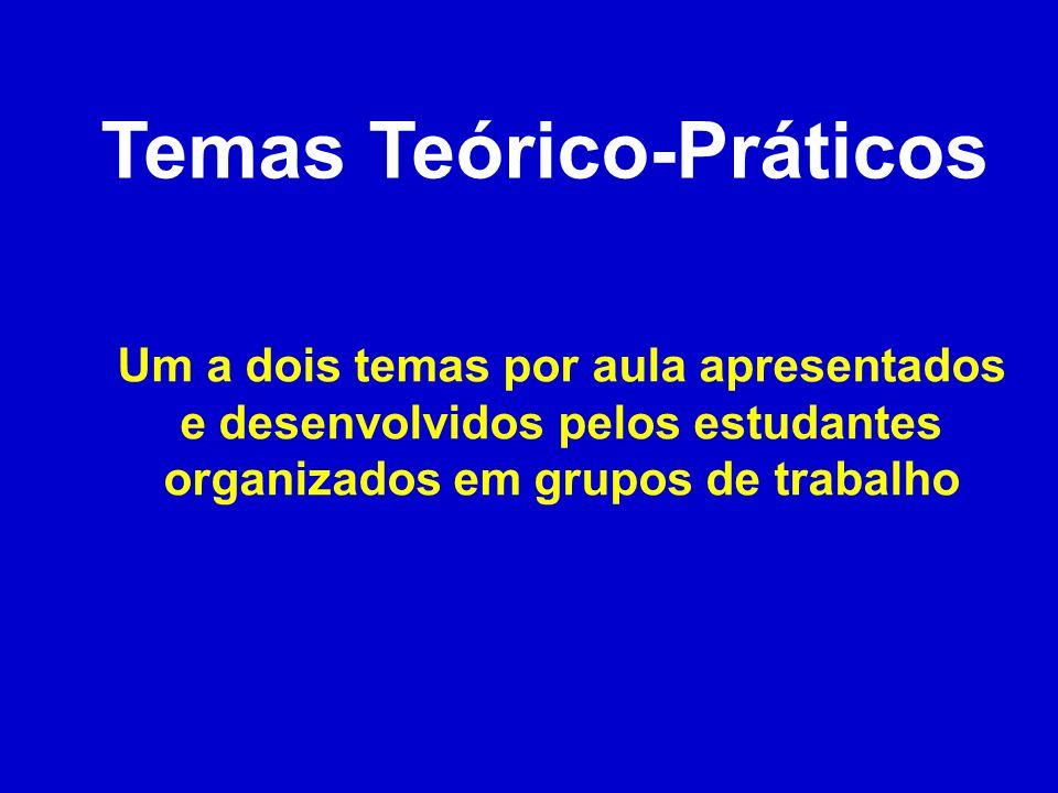 Temas Teórico-Práticos Um a dois temas por aula apresentados e desenvolvidos pelos estudantes organizados em grupos de trabalho