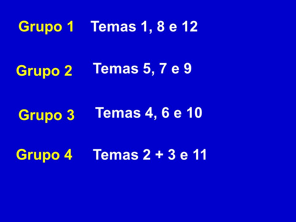 Grupo 1Temas 1, 8 e 12 Grupo 2 Grupo 3 Grupo 4 Temas 5, 7 e 9 Temas 4, 6 e 10 Temas 2 + 3 e 11