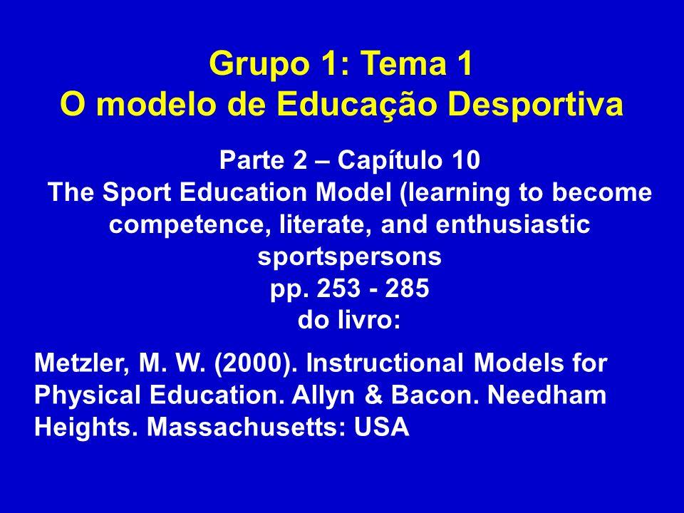 Grupo 1: Tema 1 O modelo de Educação Desportiva Metzler, M. W. (2000). Instructional Models for Physical Education. Allyn & Bacon. Needham Heights. Ma
