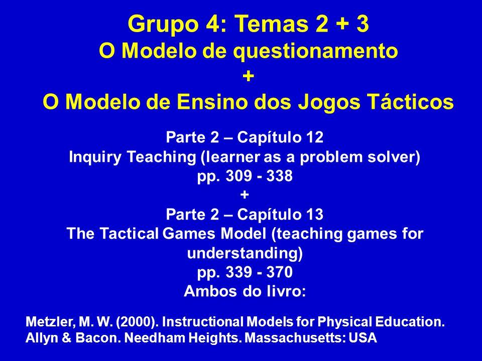 Grupo 4: Temas 2 + 3 O Modelo de questionamento + O Modelo de Ensino dos Jogos Tácticos Parte 2 – Capítulo 12 Inquiry Teaching (learner as a problem s