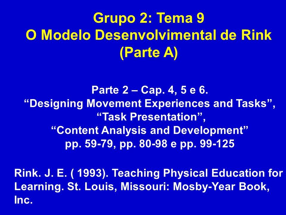 Grupo 2: Tema 9 O Modelo Desenvolvimental de Rink (Parte A) Parte 2 – Cap. 4, 5 e 6. Designing Movement Experiences and Tasks, Task Presentation, Cont