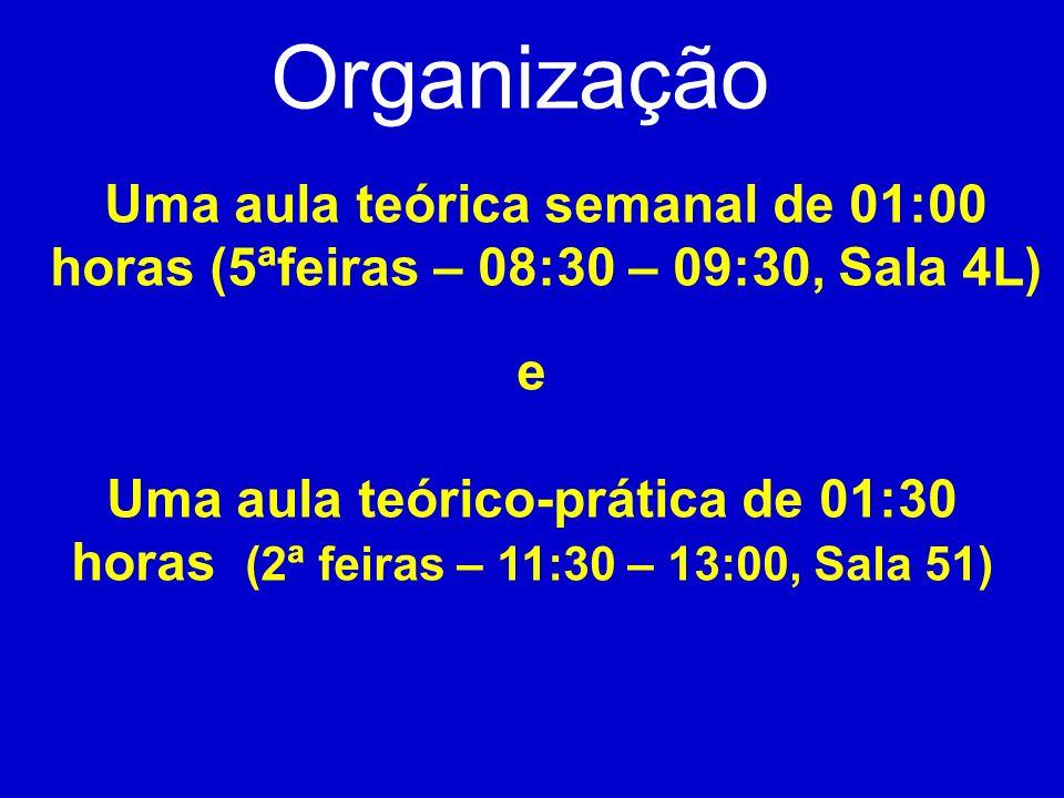 Uma aula teórica semanal de 01:00 horas (5ªfeiras – 08:30 – 09:30, Sala 4L) Organização e Uma aula teórico-prática de 01:30 horas (2ª feiras – 11:30 –