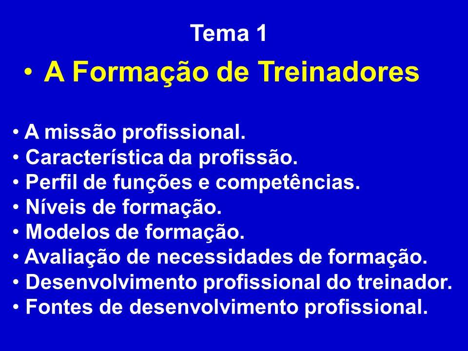 Tema 1 A Formação de Treinadores A missão profissional. Característica da profissão. Perfil de funções e competências. Níveis de formação. Modelos de