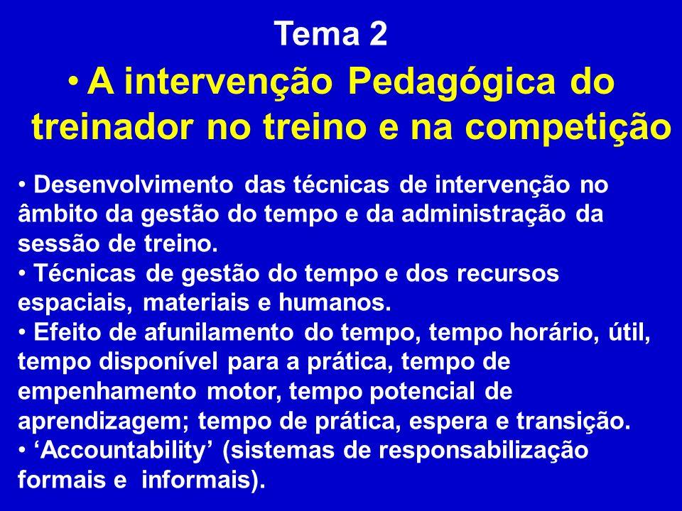 Tema 2 A intervenção Pedagógica do treinador no treino e na competição Desenvolvimento das técnicas de intervenção no âmbito da gestão do tempo e da a