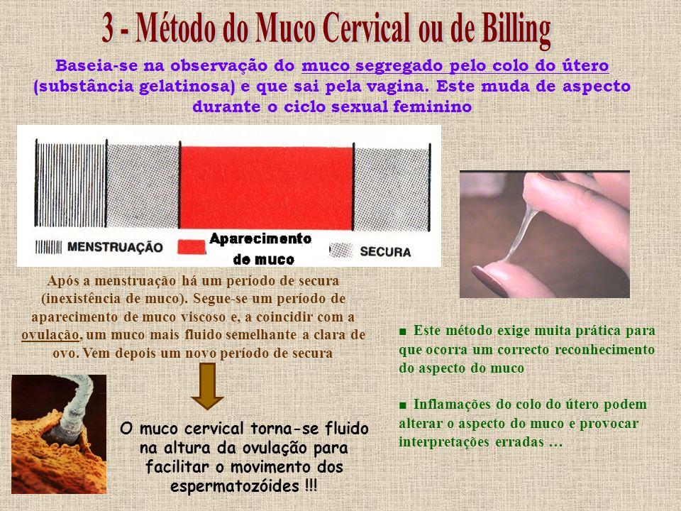 Baseia-se no estudo da temperatura – o dia da ovulação é determinado por uma descida nos valores de temperatura seguida de uma subida E prevendo o dia