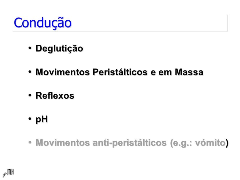ConduçãoCondução Deglutição Deglutição Movimentos Peristálticos e em Massa Movimentos Peristálticos e em Massa Reflexos Reflexos pH pH Movimentos anti-peristálticos (e.g.: vómito) Movimentos anti-peristálticos (e.g.: vómito)