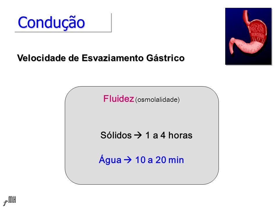 ConduçãoCondução (osmolalidade) Fluidez (osmolalidade) Sólidos 1 a 4 horas Água 10 a 20 min Velocidade de Esvaziamento Gástrico