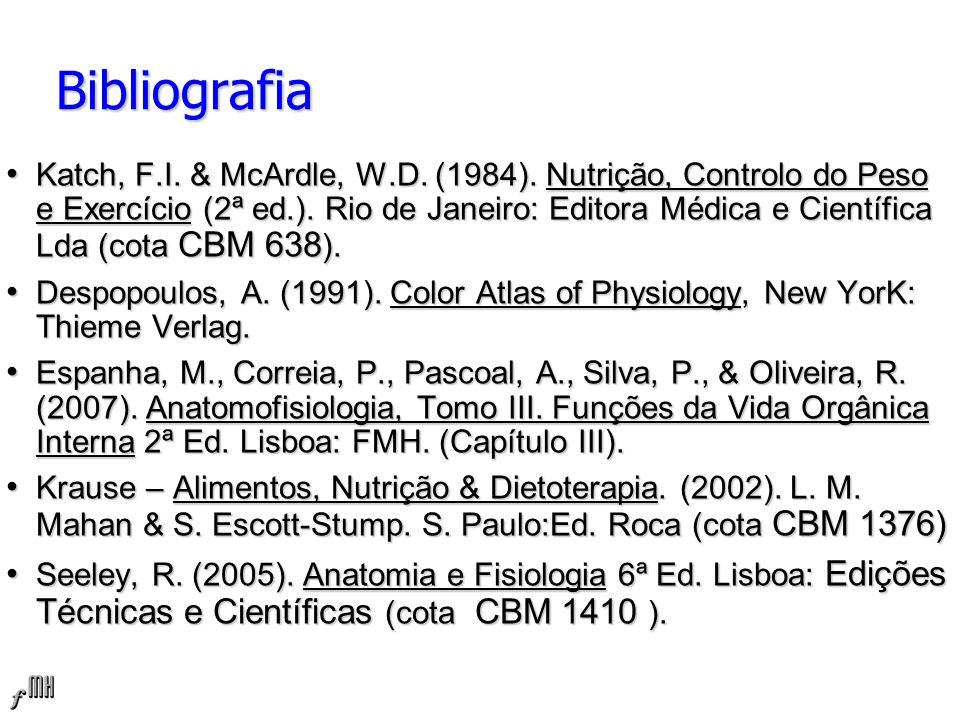 Bibliografia Katch, F.I.& McArdle, W.D. (1984). Nutrição, Controlo do Peso e Exercício (2ª ed.).