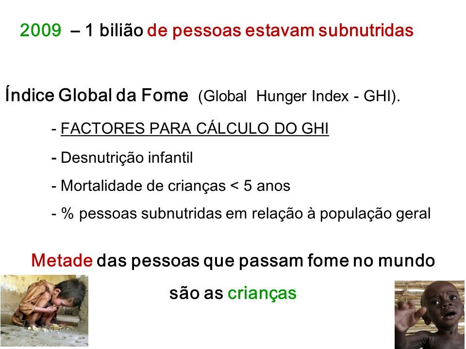 2009 – 1 bilião de pessoas estavam subnutridas Índice Global da Fome ( Global Hunger Index - GHI).