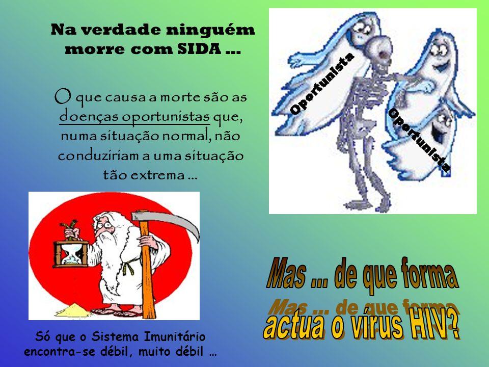 SIDA A é uma doença que conduz à morte; é provocada por um vírus que ataca preferencialmente as células do Sistema Imunitário. Sistema responsável pel