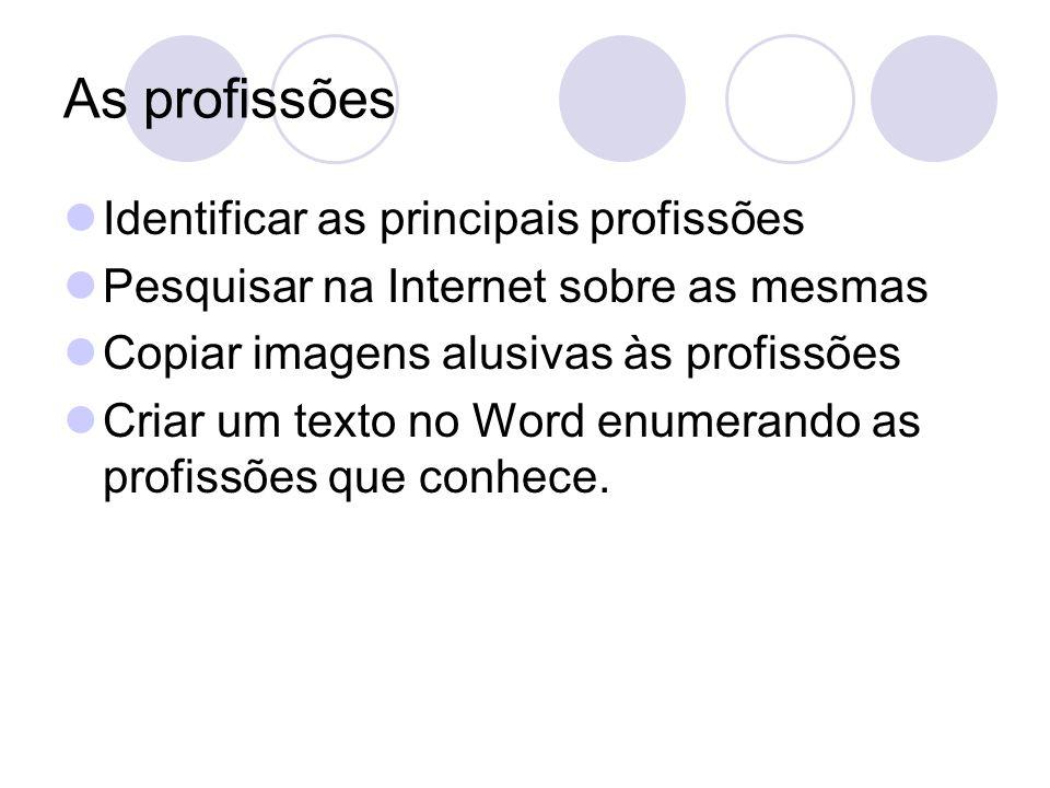As profissões Identificar as principais profissões Pesquisar na Internet sobre as mesmas Copiar imagens alusivas às profissões Criar um texto no Word