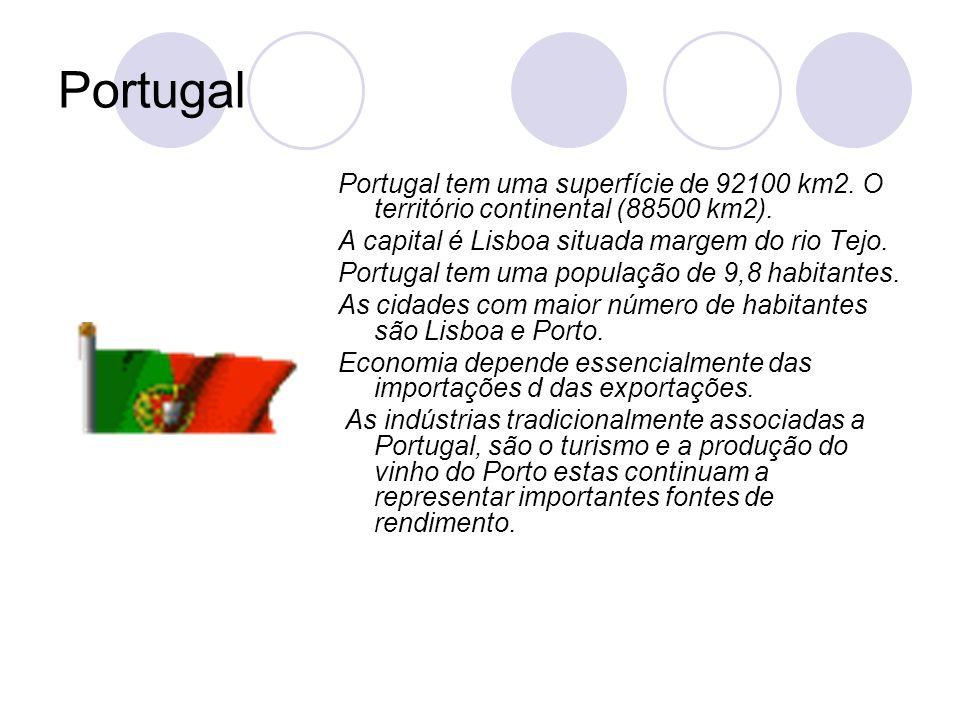 Portugal Portugal tem uma superfície de 92100 km2. O território continental (88500 km2). A capital é Lisboa situada margem do rio Tejo. Portugal tem u