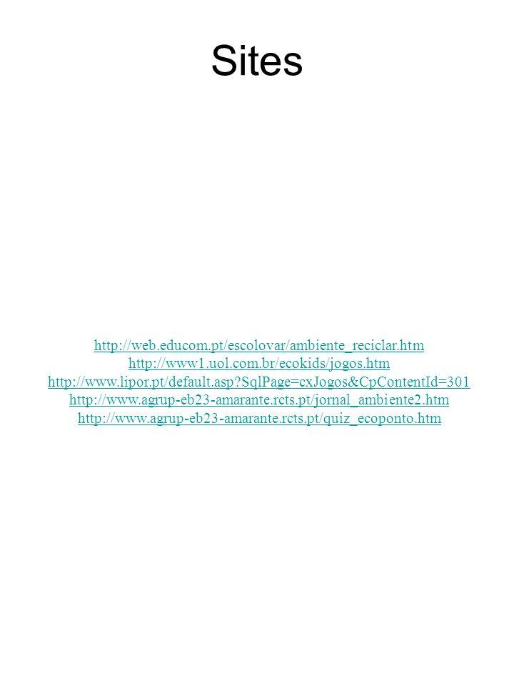 Sites http://web.educom.pt/escolovar/ambiente_reciclar.htm http://www1.uol.com.br/ecokids/jogos.htm http://www.lipor.pt/default.asp?SqlPage=cxJogos&Cp