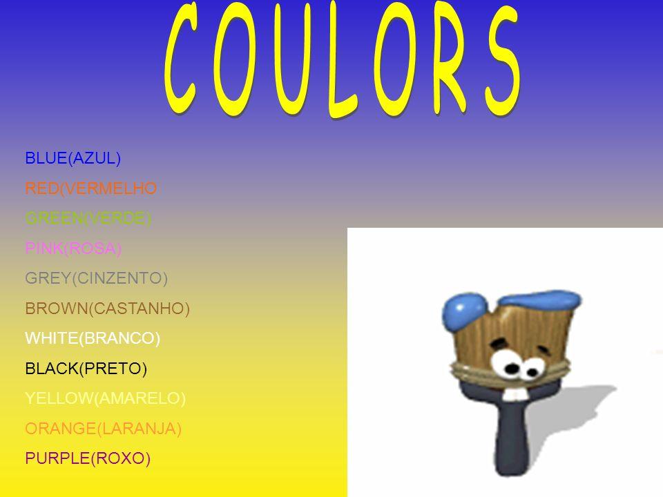 BLUE(AZUL) RED(VERMELHO GREEN(VERDE) PINK(ROSA) GREY(CINZENTO) BROWN(CASTANHO) WHITE(BRANCO) BLACK(PRETO) YELLOW(AMARELO) ORANGE(LARANJA) PURPLE(ROXO)