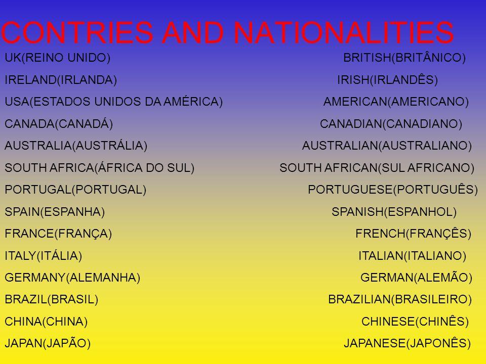 UK(REINO UNIDO) BRITISH(BRITÂNICO) IRELAND(IRLANDA) IRISH(IRLANDÊS) USA(ESTADOS UNIDOS DA AMÉRICA) AMERICAN(AMERICANO) CANADA(CANADÁ) CANADIAN(CANADIA